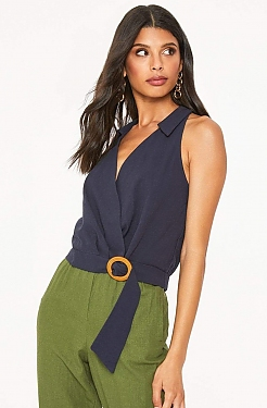 See Collared Belted Wrap Top in Navy
