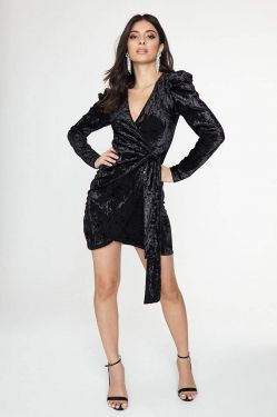 See Crushed Velvet Wrap Dress in Black