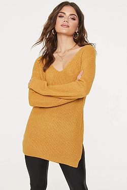 See Criss Cross Back Oversized Sweater in Dark Mustard