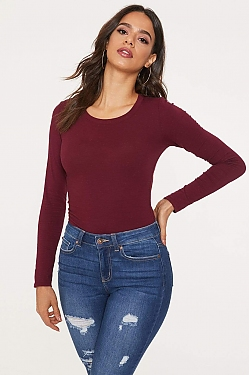 See Basic Scoop Neck Long Sleeve Top in Burgundy