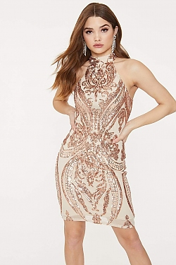See Ornate Glitter Sequin Midi Halter Dress in Blush