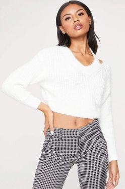 See Asymmetrical Shoulder Cut Out Eyelash Knit Sweater in Ivory