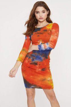 See Tie Dye Long Sleeve Ribbed Dress in Light Sun Baked