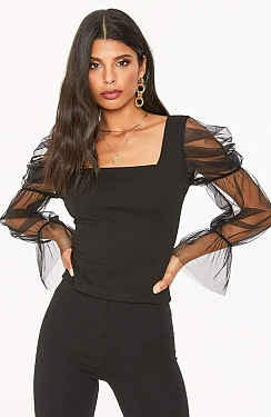 See Sheer Puff Sleeved Top in Black in Black
