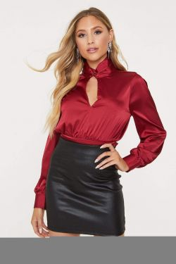 See Long Sleeve Keyhole Blouse with Self Tie Sash in Burgundy
