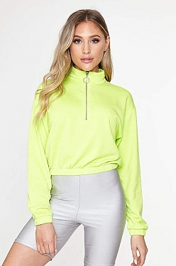 See O-Ring Half Zip Pull Over With Elastic Waistband in Neon Yellow