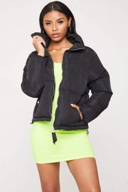 See Boxy Puffer Jacket in Black