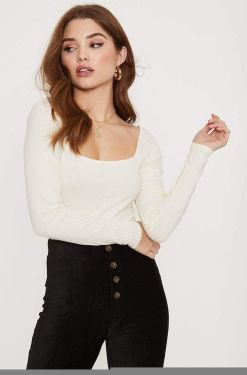 See Square Neck Long Sleeve Ribbed Top in Ecru Cream