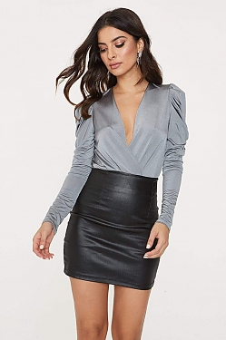 See Cascading Ruffle Puff Sleeve Cross Bodysuit in Grey