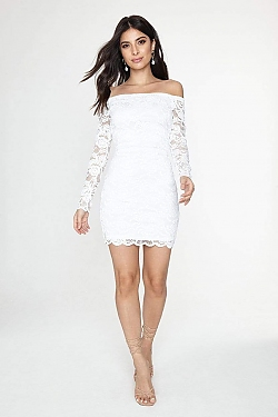 See Off-the-Shoulder All Over Lace Dress in White