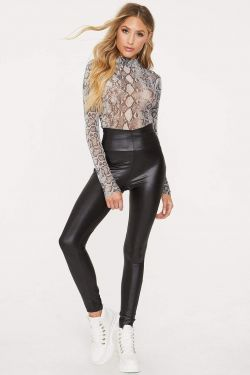 See High Waisted Faux Leather Leggings in Black