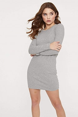 See Long Sleeve Cotton Mini Dress in Heather Grey