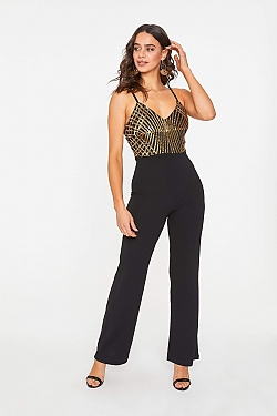 See Geometric Sparkle Wide Leg Jumpsuit in Black/Gold