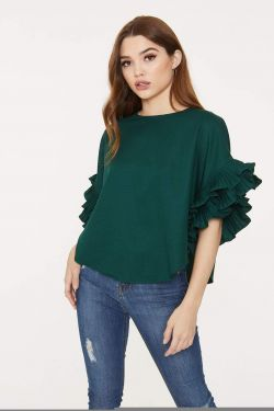 See Pleated Ruffle Sleeve Blouse in Hunter Green