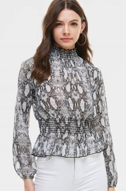 See Snake Print Shirred Detail Blouse in Grey