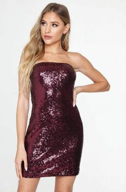 See Sequin Strapless Mini Dress in Wine