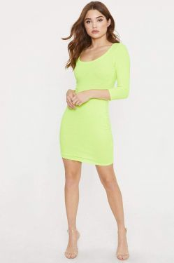 See Scoop Neck Ribbed Mini Dress in Neon Lime