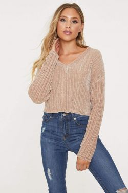 See V-Neck Ribbed Chenille Cropped Sweater in Beige