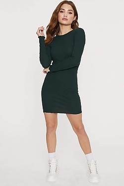 See Lettuce Edge Long Sleeve Tee Dress in Pine Tree