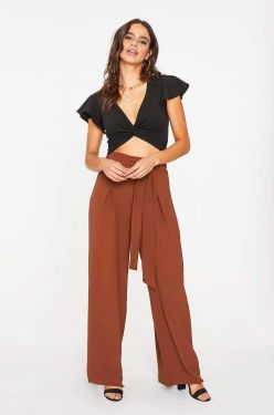 See Tied Waist Palazzo Pant in Brown