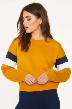 See Striped Sleeve Relaxed Pull Over in Dark Mustard
