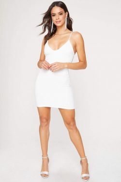 See Sparkle Strap Back Mini Dress in Ivory