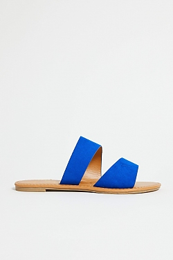 See Black Croco Two Strap Mule Slide in Cobalt