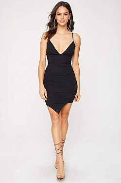 See Asymmetrical Hem Cami Dress in Black