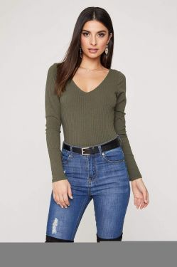 See V-Neck Long Sleeve Ribbed Bodysuit in Olive