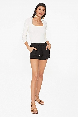 See Linen Shorts in Mauve in Black
