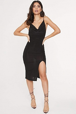 See Cowl Neck Front Slit Midi Dress in Black