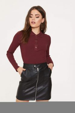 See Ribbed Knit Long Sleeve Polo Top in Merlot