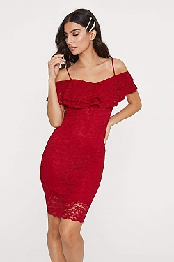 See Lace Flounce Bodycon Midi Dress in Red