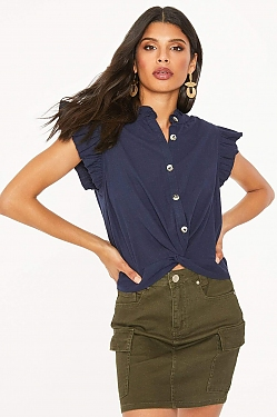See Button Up Ruffle Sleeve Twisted Hem Blouse in Navy