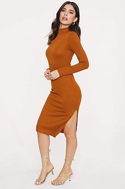 See Ribbed Knit High Neck With Side Slit Dress in Terracotta