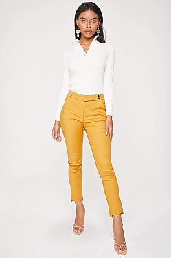 See Front Strap Tapered Cropped Trouser in Mustard