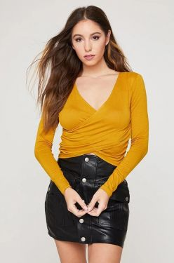See Criss Cross Draped Long Sleeve Crop Top in Dark Mustard
