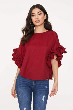 See Pleated Ruffle Sleeve Blouse in Burgundy