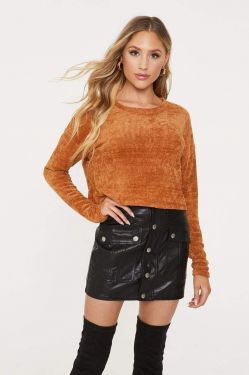 See Dropped Shoulder Chenille Cropped Sweater in Caramel