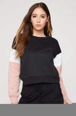See Striped Sleeve Pull Over in Black