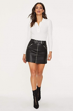 See Faux Leather Biker Belt Zip Skirt in Black