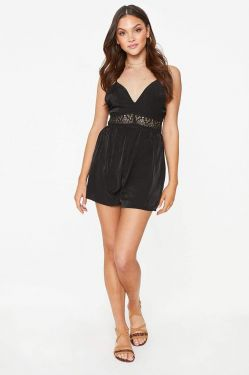 See Dainty Crochet Trimmed Romper in Black