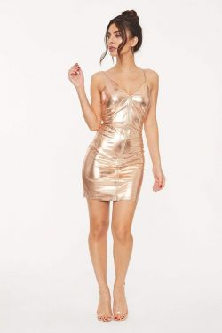 See Metallic Fitted Zip Up Cami Dress in Rose Gold