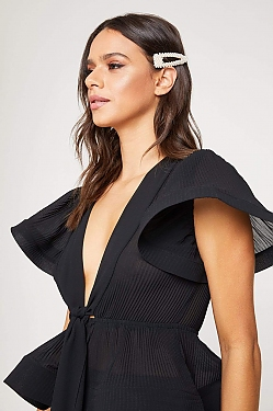 See Sheer Pleated Plunging V-Neck Structured Butterfly Blouse in Black