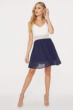See Lace Top Crochet Waist Cami Dress in Navy