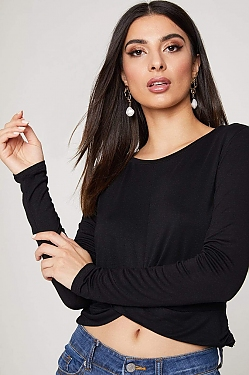 See Draped Hem Long Sleeve Top in Black
