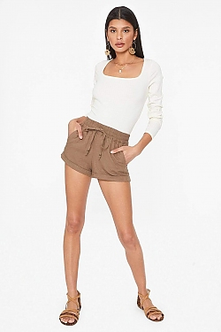 See Linen Shorts in Mauve in Mocha