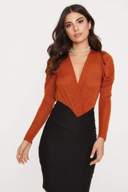 See Long Sleeve Sparkle Surplice Bodysuit in Rust