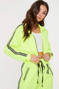 See Sporty Zip Up Windbreaker Jacket in Neon Lime
