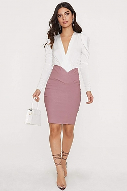 See High Waisted Skirt with Cross Over Detail in Mauve